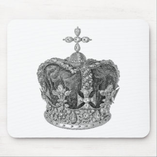 CROWN WITH JEWELS AND CROSSES VINTAGE PRINT MOUSE PAD
