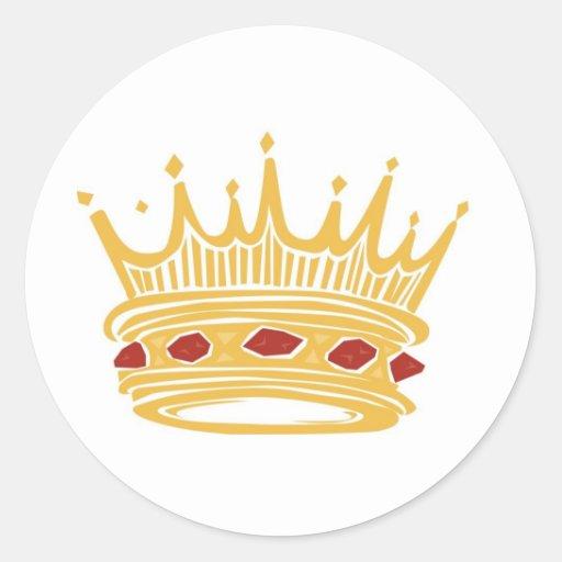 Crown With Jewels de un rey de oro Pegatina Redonda