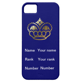 Crown, with Name, Rank and Number, navy iPhone SE/5/5s Case