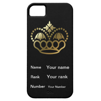 Crown with Name, Rank, Number -  black iPhone SE/5/5s Case