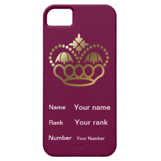 Crown with Name, Rank, Number - burgundy iPhone SE/5/5s Case