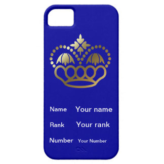 Crown with Name, Rank, Number - french navy blue iPhone SE/5/5s Case