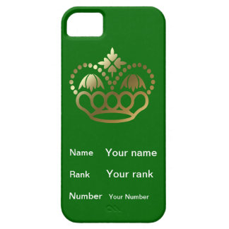 Crown with Name, Rank, Number - mid green iPhone SE/5/5s Case