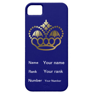 Crown with Name, Rank, Number -  navy blue iPhone SE/5/5s Case