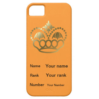 Crown with Name, Rank, Number -  orange iPhone SE/5/5s Case