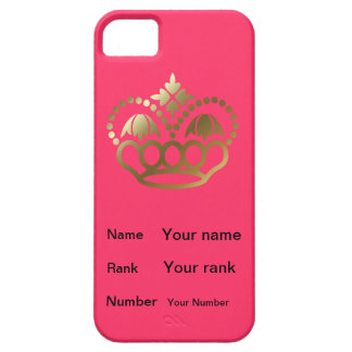 Crown with Name, Rank, Number - Pink iPhone SE/5/5s Case