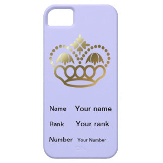 Crown with Name, Rank, Number - powder blue iPhone 5 Cover