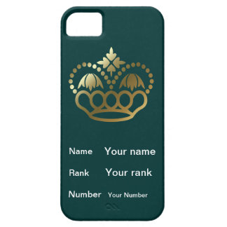 Crown with Name, Rank, Number - teal iPhone SE/5/5s Case