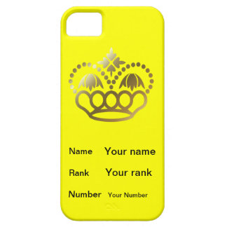 Crown with Name, Rank, Number -  yellow iPhone SE/5/5s Case