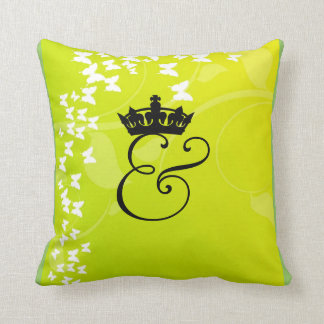 Crowned Ampersand Butterfly Motif Throw Pillow