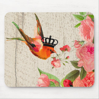 Crowned bird and roses mousepad