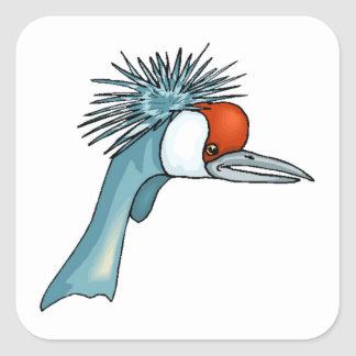 Crowned Crane Head Square Stickers