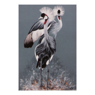 Crowned Cranes, painting by DiDi Poster