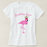 Crowned Flamingo Birthday Girl T-Shirt