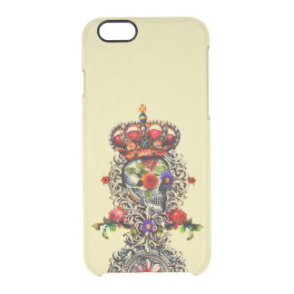 Crowned Floral Skull Clear iPhone 6/6S Case