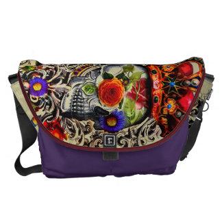 Crowned Floral Skull Courier Bag