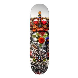 Crowned Floral Skull Skateboard