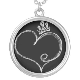Crowned Heart Of Mine Round Pendant Necklace
