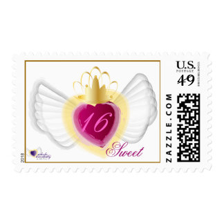 Crowned Heart Sweet Sixteen Postage-Customize Postage Stamp