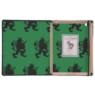 Crowned Lion Black Green Cases For iPad