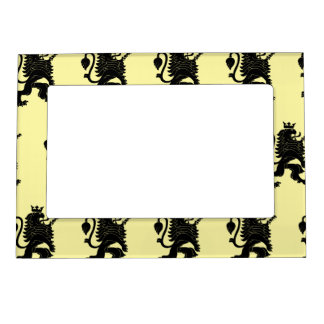 Crowned Lion Black Light Yellow Magnetic Photo Frames