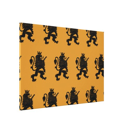 Crowned Lion Black Orange Canvas Prints