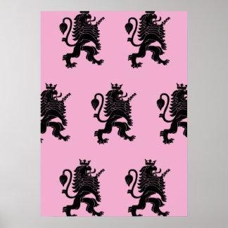 Crowned Lion Black Pink Poster