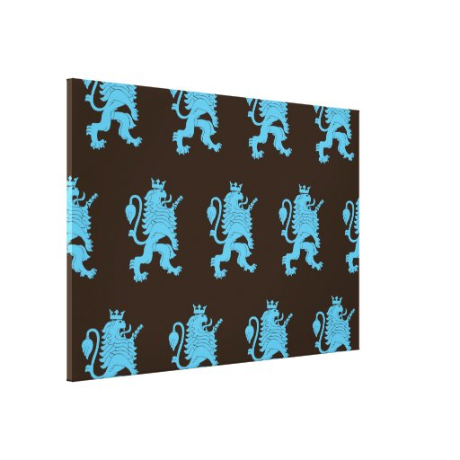 Crowned Lion Blue Brown Gallery Wrap Canvas