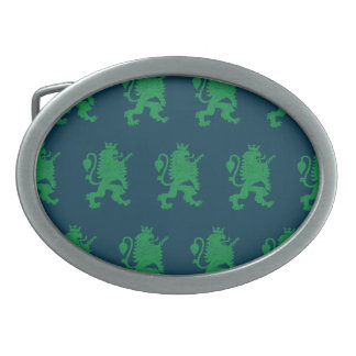 Crowned Lion Green Blue Belt Buckle