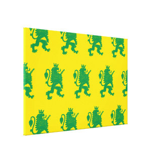 Crowned Lion Green Yellow Canvas Print