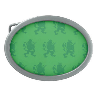 Crowned Lion Greens Oval Belt Buckle