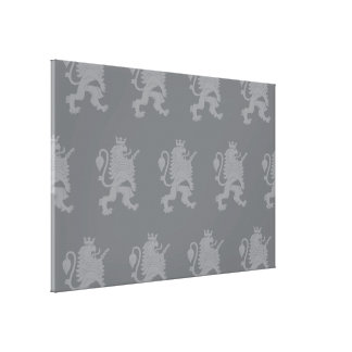 Crowned Lion Grey Gallery Wrap Canvas