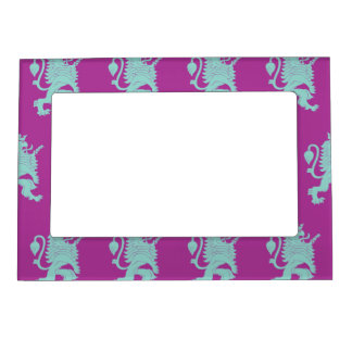 Crowned Lion Grey Magenta Magnetic Picture Frame