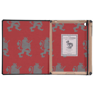 Crowned Lion Grey Red iPad Folio Case