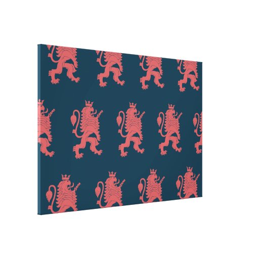 Crowned Lion Pink Blue Gallery Wrap Canvas