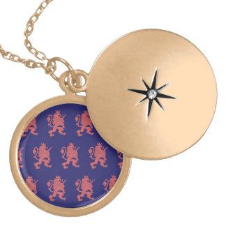 Crowned Lion Pink Purple Round Locket Necklace