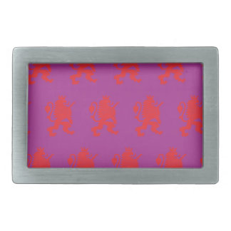 Crowned Lion Red Magenta Rectangular Belt Buckle