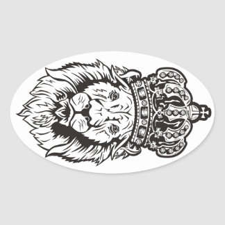 Crowned Lion s Head Oval Sticker