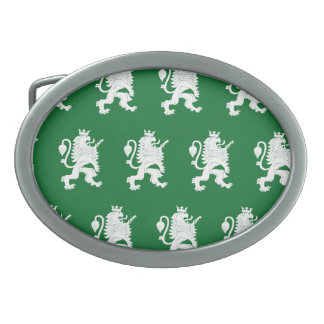 Crowned Lion White Green Oval Belt Buckle