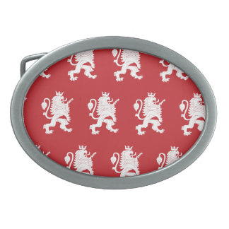 Crowned Lion White Red Oval Belt Buckles