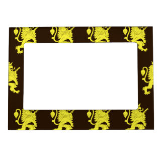 Crowned Lion Yellow Browns Magnetic Picture Frame