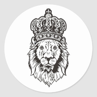 Crowned Lion's Head Classic Round Sticker