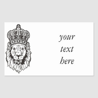 Crowned Lion's Head Rectangular Sticker