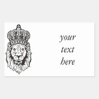 Crowned Lion's Head Rectangular Sticker