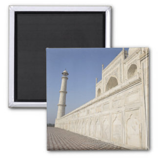 Crowned minarets at Taj Mahal, view from Chhatri 2 Inch Square Magnet