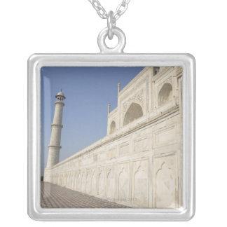 Crowned minarets at Taj Mahal, view from Chhatri Square Pendant Necklace