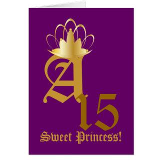 Crowned Monogram Sweet Fifteen!-Customize Greeting Card