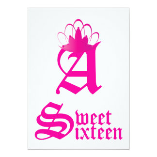 Crowned Monogram Sweet Sixteen-Customize Card