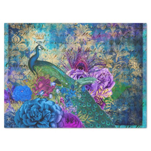 Crowned Peacock on Blue Purple Floral Decoupage Tissue Paper