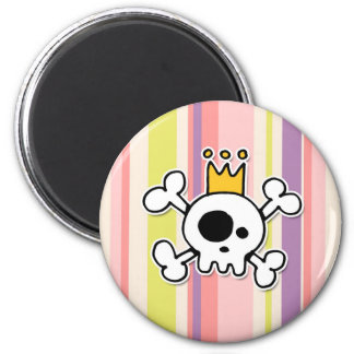 crowned skull 2 inch round magnet